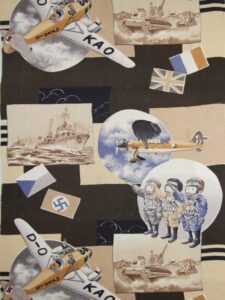 1940年日独伊三国間で結ばれた軍事同盟成立 出撃する飛行士【子供きもの モスリン】