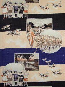 富士山と二重橋 兵隊さんを見送る子供達【子供きものモスリン】