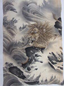 波間にライオン[縮緬 長襦袢]