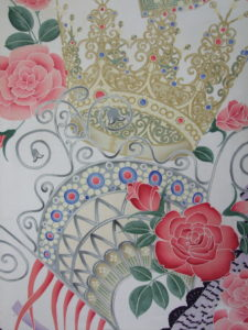 【ティアラと薔薇】羽二重 羽裏
