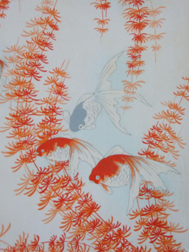 金魚すくい 錦紗縮緬 長襦袢